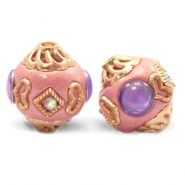 Perlen Bohemian 14mm Sweet pink-purple gold